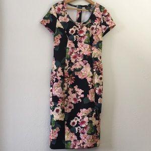 Adrianna Papell scuba sheath dress floral